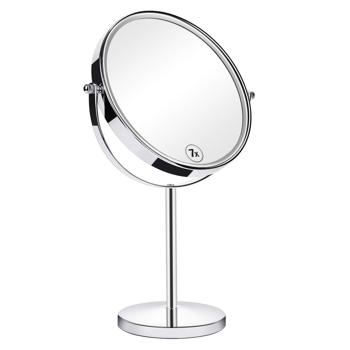Orange Tech 8-Inch Large Double Sided 1X/7X Makeup Mirror, 360 Degree Swivel Magnifying Vanity Mirror, Travel Mirror with Stand and Removable Base, 15 inch Height
