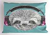 Ambesonne Sloth Pillow Sham, DJ Sloth Portrait with Headphones Funny Modern Character Cool Cute Smiling, Decorative Standard Queen Size Printed Pillowcase, 30 X 20 inches, Teal Grey Fuchsia