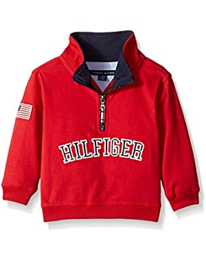 Tommy Hilfiger Baby Boys' Long Sleeve 1/2 Zip Heavy Jersey Knit