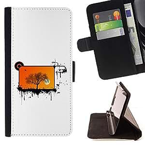 BullDog Case - FOR/Apple Iphone 5 / 5S / - / cool abstract screen tree orange /- Monedero de cuero de la PU Llevar cubierta de la caja con el ID Credit Card Slots Flip funda de cuer