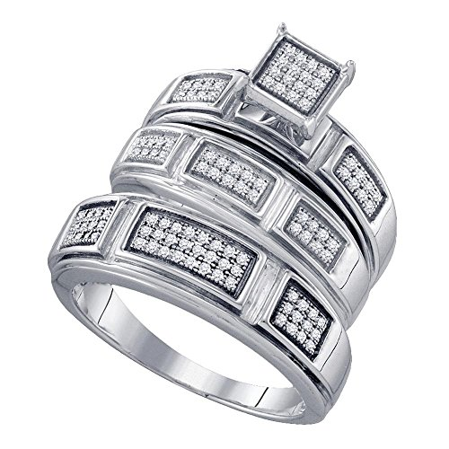 Sizes - L = 9, M = 7.5 - .925 Sterling Silver Plated in White Gold Rhodium Diamond His & Hers Trio 3 Three Ring Bridal Matching Engagement Wedding Ring Band Set - Square Shape Center Setting w/ Micro Pave Set Round Diamonds - (.29 cttw) - Please use drop down menu to select your desired ring sizes