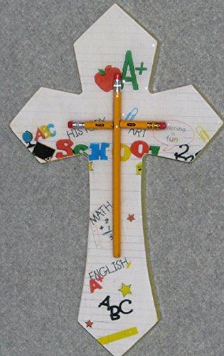 decorative wall crosses, yellow pencil med, handmade, wooden,