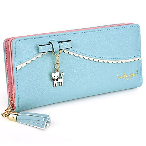 Blue Womens Wallet (UTO Women Long Wallet PU Leather Clutch 5.5