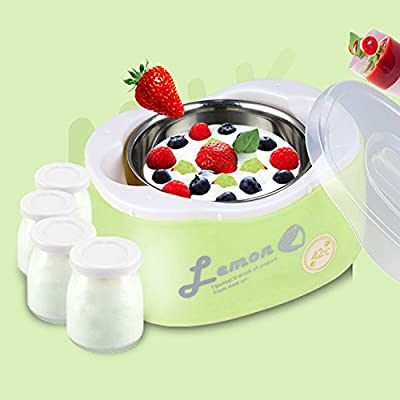 1.2 L Stainless Steel Candy Color Automatic Yogurt Maker Thermostat with 4 Glass Jars Yellow Green