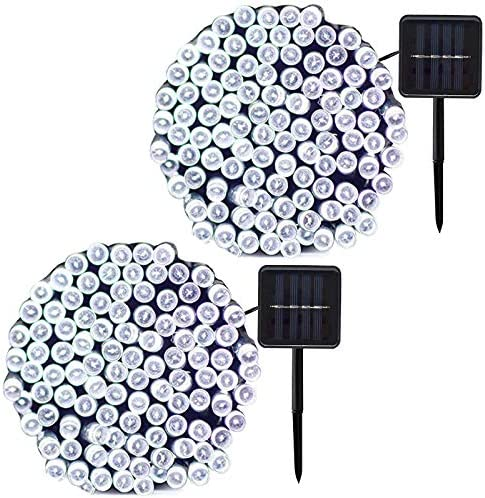 JMEXSUSS 2 Pack Solar String Light 100LED 42.7ft 8 Modes Solar Christmas Lights Waterproof for Gardens, Wedding, Party, Homes, Christmas Tree, Halloween, Curtains, Outdoors White