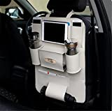BININBOX Car Backseat Organizer PU Pocket Protector Kick Mat Auto For Baby Kids Travel Accessories Toy Bottle Storage Wearproof (Beige)