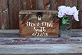 Wedding Card Box Chest Shabby Chic Espresso Color Engraved Personalized Front Holds Wedding cards with Slit and Lock For Sale