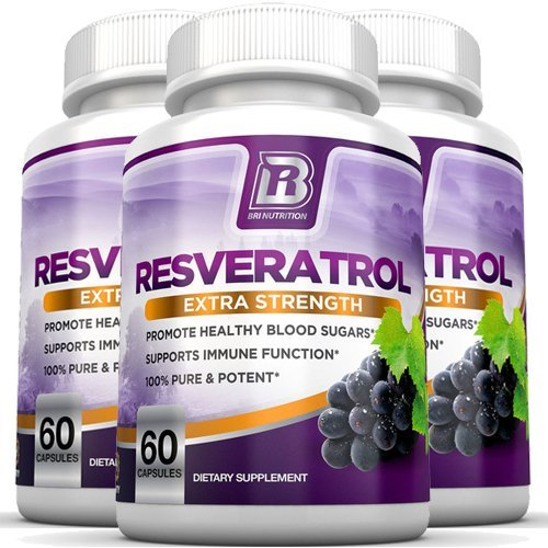 BRI Nutrition Resveratrol - 1200mg Maximum Strength Supplement - 30 Day Supply - 60 Veggie Capsules - 3-Pack
