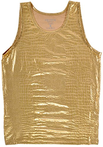 Alligator Tank Top Shirt Faux Leather (Gold Alligator)
