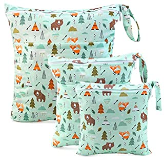 Wet Dry Cloth Diaper Bags - CeeKii 3 Pack Washable Travel Bags, Waterproof Wet Bag, Baby Reusable Beach Pool Gym Bag for Swimsuits and Wet Clothes with Zippered Pocket and Snap Handle (Green)