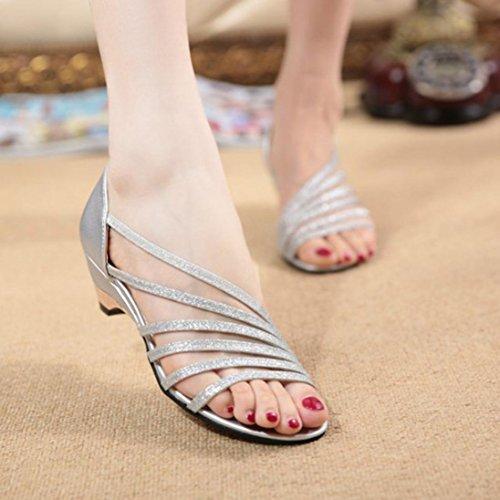 bescita Outdoor Fashion Ausschnitte Frauen Sandalen Open Toe Niedrige Keile Sommer Schuhe Badeschuhe Silber