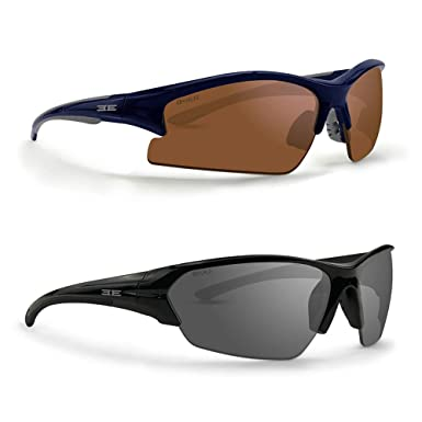 f116dbede6 Amazon.com  2 Pair Golf Sport Sunglasses 1 Epoch 1 Blue Gray w Amber ...
