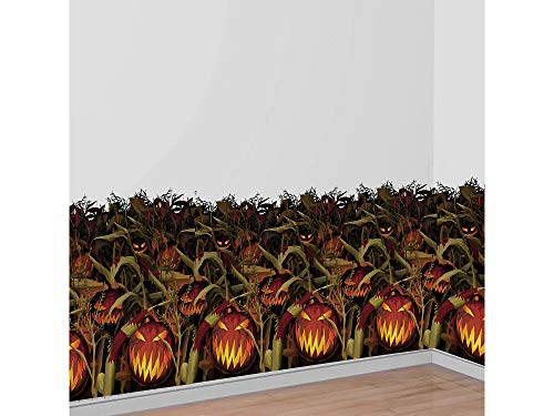 AMSCAN Scary Jack-o'-Lantern Room Roll - Field of Screams, Halloween Props and Decor, Plastic, 4' H x 40' L]()