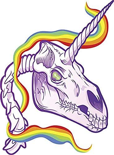 "EW Designs Cute Evil Purple Unicorn Skeleton with Rainbow Ribbon Cartoon Vinyl Decal Bumper Sticker (4"" Tall)"