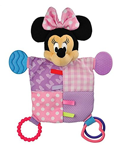 Disney Baby, Mickey Mouse Snuggle Blanky + Flat Blanky Teether Bundle Set (Minnie Mouse)