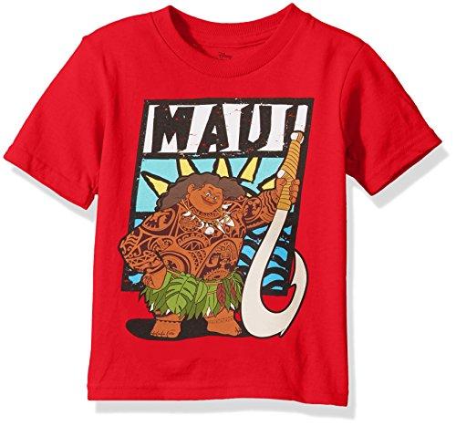 Disney Toddler Boys' Moana Short Sleeve T-Shirt, Red, 5T