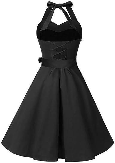 Plus Size Dresses,Women Sleeveless Solid Zipper Hepburn Vintage Swing High-Waist Pleated Dress
