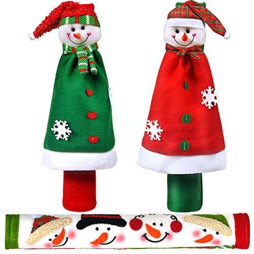 Vezfinel Kitchen Appliance Snowman Handle Covers, Christmas Home Decorations Set for Holiday Idea Gifts,Refrigerator…