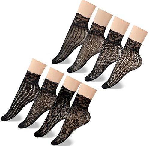 Jormatt 8 Pairs Women Lace Fishnet Socks Nylon Sheer Ankle Dress Socks Low Cut Black Thin Novelty Extended Size Crew Socks For Flats, US Women Shoes Size 4-8 by Jormatt