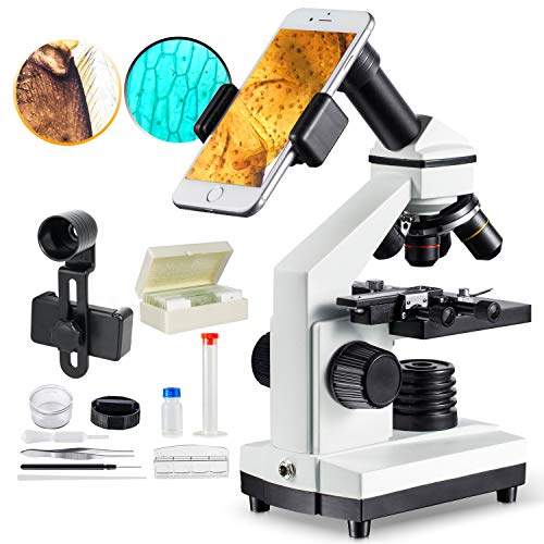 1000x Compound Microscope for Students with Prepared Slides Kit for School Teaching Demonstration, Amateur Biology Research Homeschool Science Learning Nature MAXLAPTER