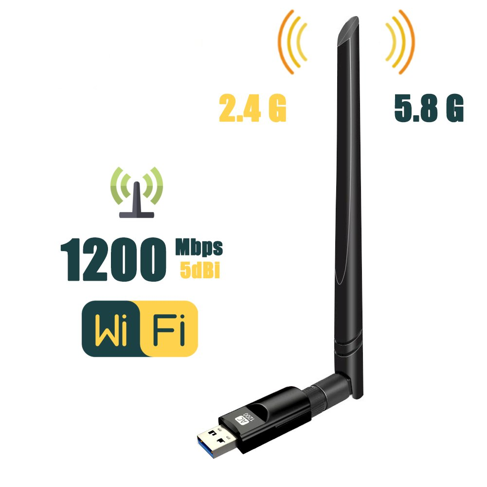 Wireless USB WiFi Adapter,ZTESY 1200Mbps Dual Band 2.4GHz/300Mbps 5GHz/867Mbps High Gain Dual 5dBi Antennas Network WiFi USB 3.0 For Desktop Laptop with Windows 10/8/8.1/7/XP, Mac OS X, Linux by ZTESY