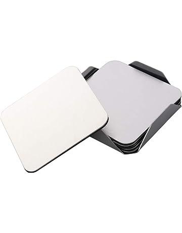 BESTONZON 6 unidades Posavasos de acero inoxidable Cuadrados antideslizantes Resistentes al calor Manteles individuales de mesa
