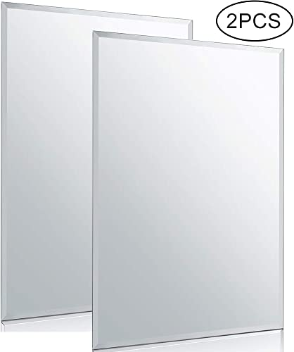 Chende 2PCS Rectangle Wall Mirror with Beveled Edge, 20 x 28 Glass Frameless Vanity Mirror for Bathroom, Bedroom, Entryways, Washrooms, Living Rooms