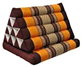 Thai triangle cushion with 1 folding seat, brown/orange, relaxation, beach, pool, meditation, yoga, (81101)