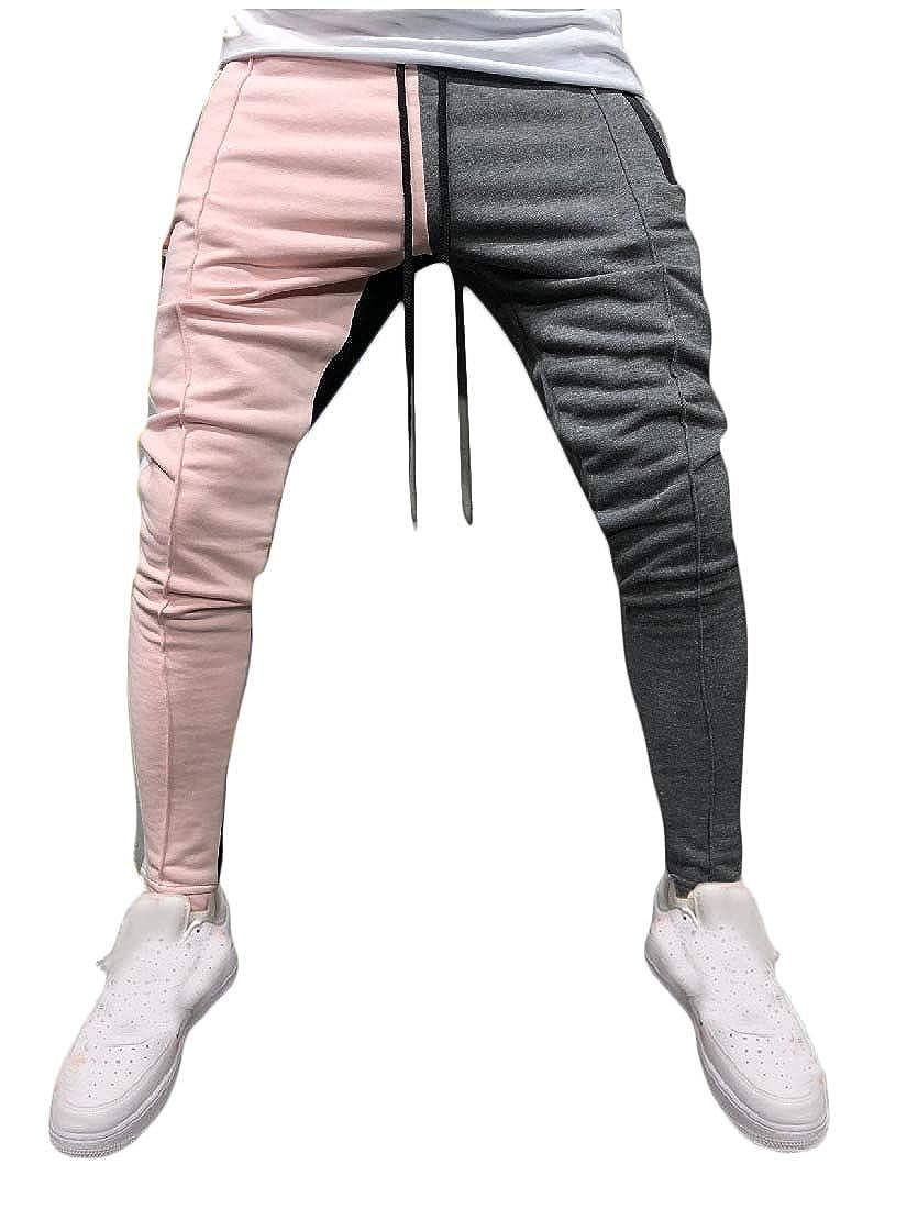 DressU Mens Hip Hop Individuality High Waist Color Conjoin Slim Tops T-Shirts