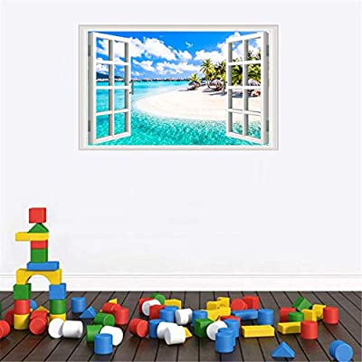 Amtoodopin 3D Fake Windows Wall Stickers Removable Wall Sticker for Livingroom Bedroom