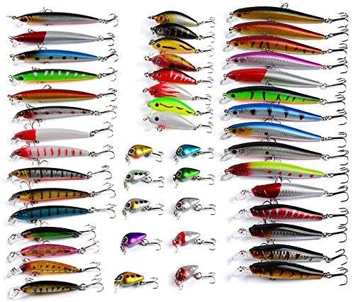 ルアー セット 48 PCの両方の淡水と海水のために魚グレート種類に適した金属ハードミノーの混合釣りルアーキットとソフトルアー 付き 釣り初心者に (Color : Multi-colored, Size : Free Size)