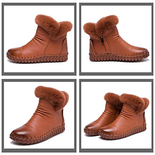 Ankle Plüsch Leder BROWN Stiefel Handgemachte Baumwolle Sohlen Lässige Flache Weibliche Weiche Dicker Ferse Schwangere Faule 41 Schuhe Warme Xx60Rax