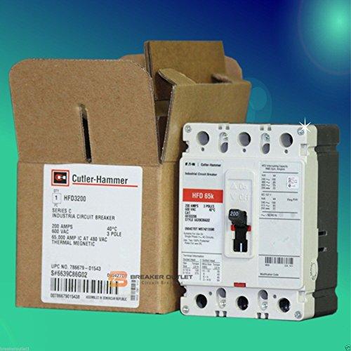 (New Cutler-Hammer Eaton HFD3200 Circuit Breaker 3 Pole 200A 600V 65kA Series)