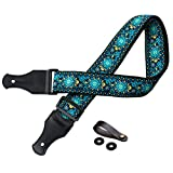 TimbreGear Vintage Woven Jacquard Designer Guitar Strap Set includes Strap Button And Strap Locks (2)