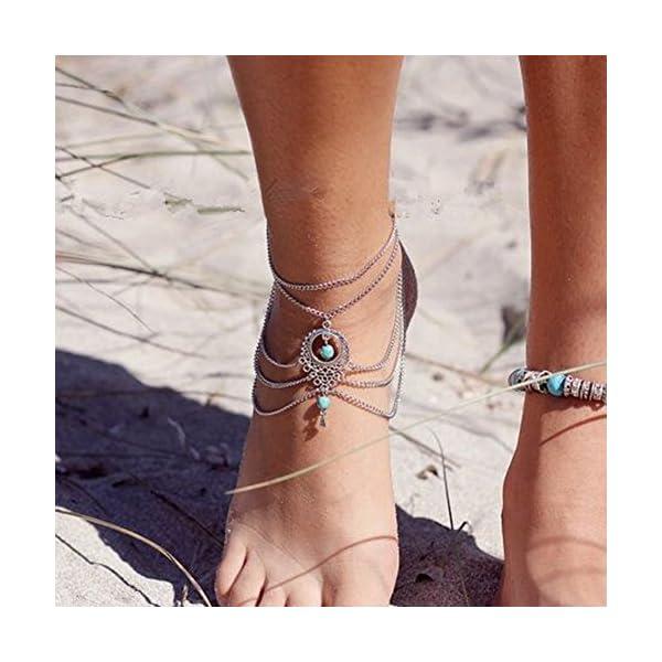 WeiMay 1 X Elegante cavigliera a più strati caviglie in nappa catena donne braccialetto alla caviglia sandalo a piedi… 2 spesavip