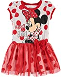 Disney Toddler Girls' Minnie Mouse Tulle Dress, White With Red Polka Dots (3T)