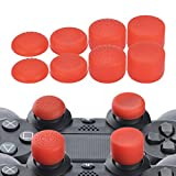 YoRHa Professional Thumb Grips Thumbstick Joystick Cap Cover (red) Extra High 8 Units Pack for PS4, Switch PRO, PS3, Xbox 360, Wii U tablet, PS2 controller