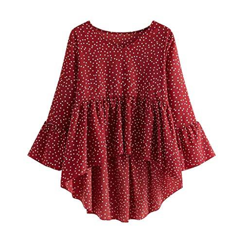 Lutos Plus Size Women Casual V-Neck Ruffles Polka Dot High Low Flounce Sleeve Peplum Tops T Shirt Blouse Red