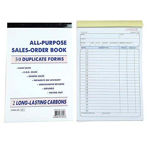 July's Best 5 Pack Large Sales Order Book Receipt Invoice Duplicate Carbonless 50 Sets 5.5
