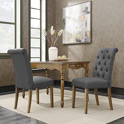 Belleze 2pc Dining Chair Modern Tufted Parson Dark Gray Chairs Linen High-Backrest Cushion Seat w Wooden Leg