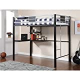 Furniture of America Ivanko Loft Bed with Work Station, Full, Silver and Black Finish