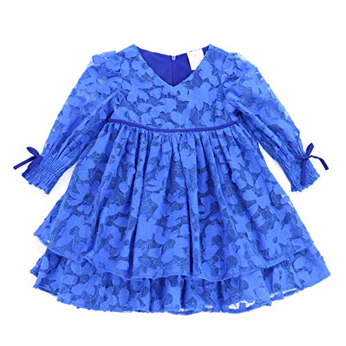 THE SILLY SISSY - Toddlers and Girls Double Ruffles Royal Lace Dress Princess Charlotte (Sapphire Blue, 2T)