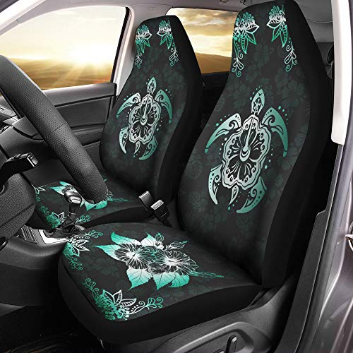 VTH Global Hawaiian Print Turtle Hibiscus Flower Hawaii Car Seat Covers Set of 2 Size Universal Fit (Accessories Car Turtle)