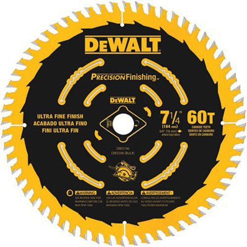 "DEWALT 7-1/4"" Circular Saw Blade, Precision Finishing, 60-Tooth (DW3196)"