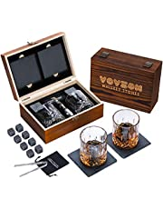 Whiskey Stones and Glasses Gift Set for Men – 8 Whiskey Scotch Bourbon Chilling Stones, 2 Whiskey Glasses and 2 Slate Coasters in Wooden Box – Christmas/Father's Day/Birthday/Anniversary/Retirement Gift/Present for Father Dad Boyfriend Colleagues