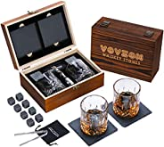 Whiskey Stones and Glasses Gift Set for Men – 8 Whiskey Scotch Bourbon Chilling Stones, 2 Whiskey Glasses and