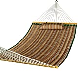 Lazy Daze Hammocks Hammock Quilted Fabric with Pillow for Two Person Double Size Spreader Bar Heavy Duty Stylish, Brown Stripe