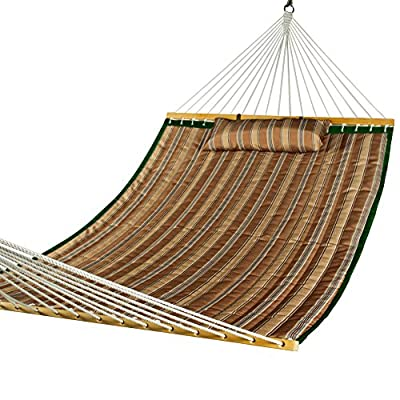 Lazy Daze Hammocks Hammock Quilted Fabric with Pillow for Two Person Double Size Spreader Bar Heavy Duty Stylish, Brown Stripe - The double-layered quilted polyester with inner polyester padding and a polyethylene stuffing head pillow offer superior comfort Handcrafted polyester ropes add character and authenticity, and thickness of the end cords contribute greatly to the balance and strength of the hammock 55 inches durable Hardwood spreader bar with powder coated in an oil rubbed finish protects from rot, mold or mildew, making it more stable and stylish as well as maximizing style - patio-furniture, patio, hammocks - 519ycHqBuOL. SS400  -