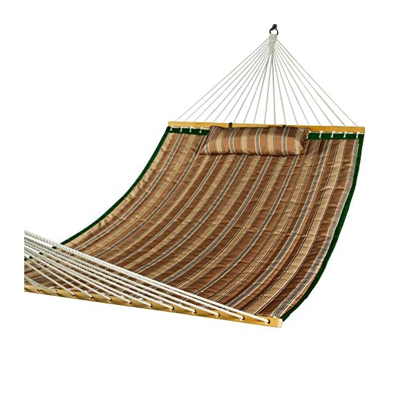 Lazy Daze Hammocks Quilted Fabric Double Hammock with Pillow, Spreader Bar Swing for Two Person, Brown Stripe - The double-layered quilted polyester with inner polyester padding and a polyethylene stuffing head pillow offer superior comfort Handcrafted polyester ropes add character and authenticity, and thickness of the end cords contribute greatly to the balance and strength of the hammock 55 inches durable Hardwood spreader bar with powder coated in an oil rubbed finish, making it more stable and stylish as well as maximizing style - patio-furniture, patio, hammocks - 519ycHqBuOL. SS570  -