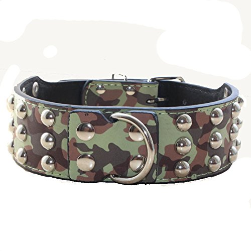 haoyueer 2 inches Wide Leather 3 Rows Studded Dog Collar Heavy Duty Fit Large Dogs Pit Bull Terrier Mastiff(Camouflage,M)